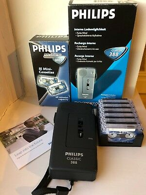 Philips LFH388 Classic Pocket Memo 388 Dictaphone with 6 x 60min Mini Cassettes