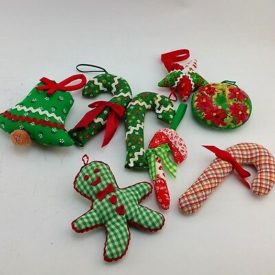 "Vintage Christmas Ornaments Stuffed Handmade Fabric Lot 8 3""-6.5"" Cloth Ornament"