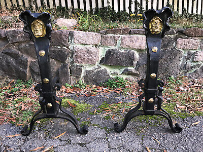 Pair ANTIQUE Monk Head Andirons ARTS & CRAFTS MOVEMENT Brass Wrought Iron 1910s