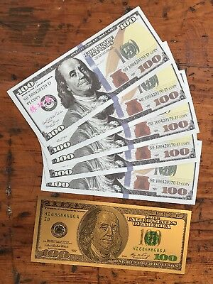 $600 Prop Money + GOLD BONUS Full Print US 100 Dollar Movie Cash 6 bills 24k $$$
