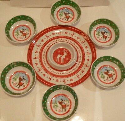 "Set of 7 Melamine ""Christmas"" Bowls,Chip & Dip Party Dishes ...CHRISTMAS Design!"