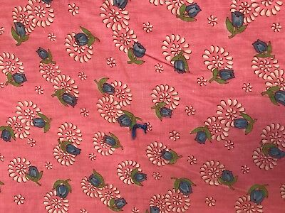 "VTG Quilted Blanket Handmade Cotton Tied Pink Blue Roses Floral 84""x68"" Pretty"