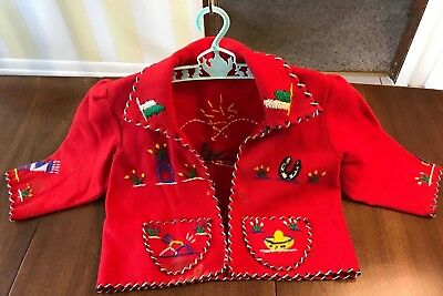 VTG Mexico Jacket Child Wool Hand Embroidered RED Presidente Cinco de Mayo