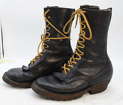 Vtg White's Boots USA Mens Sz 8 Leather Wildfire Fighting Work Logger Boots