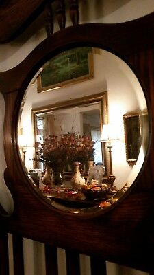 Antique or vintage English Wood Hall Stand, Coat Rack, Umbrella Stand & mirror