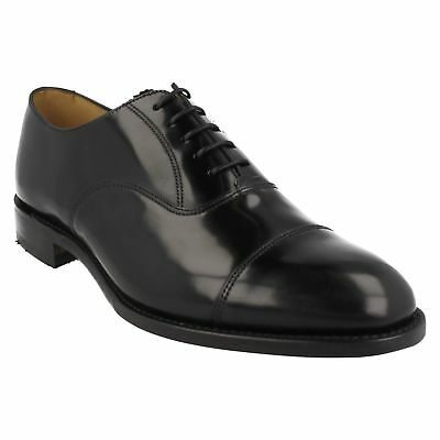 Mens Loake Black Polished Leather Lace Up Smart Formal Toe Cap Oxford Shoes 747B