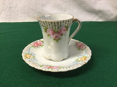 Nippon Vintage Hand-Painted Demitasse/Chocolate Cup/Saucer, Roses