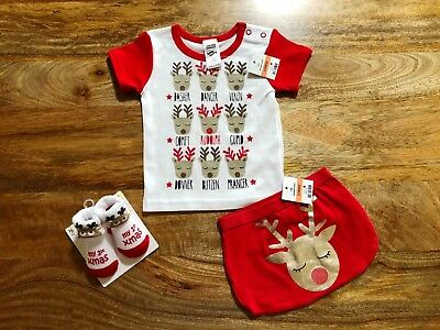 Baby Christmas Outfit - Size 00, Reindeer Pj Top, Nappy Cover + 1St Xmas Socks
