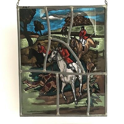 Stunning EQUESTRIAN ART GLASS Wall Hanging Stained & Leaded Glass HUNTING SCENE