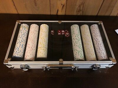 300 Piece Ace Casino Clay Poker Chips Set with Aluminum Case