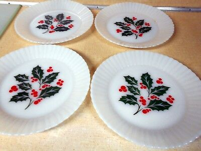 4 Vintage Dinner Luncheon Plate Termocrisa Mexico Christmas Holiday Holly