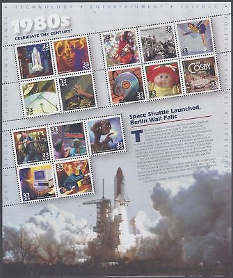 US 2000 CELEBRATE THE CENTURY 1980's VF-XF MNH** Full Sheet,33c Sc # 3190 !!