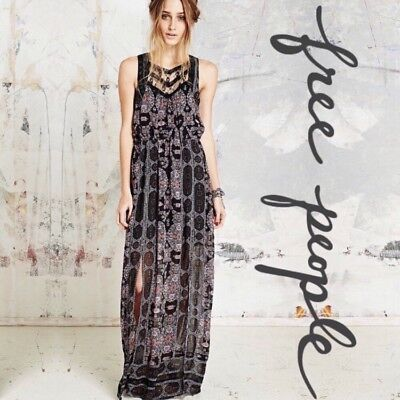 0d3ce177fe16a NWOT 148 Free People Moroccan Printed Chiffon Lace Black Combo Maxi Dress  Sz 2