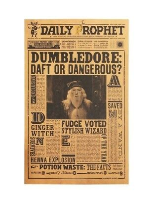 Harry Potter Paper Movie Poster Albus Dumbledore Vintage Wall Stickers Placard
