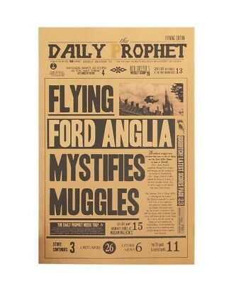 Harry Potter Vintage Movie Poster Flying Ford Anglia Paper Wall Stickers Placard