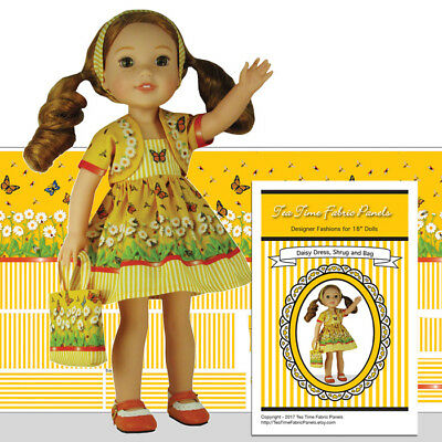 """Wellie Wisher 14.5 in Doll Clothes Kit to Sew Daisy Dress Jacket Tote Bag 14.5"""""""