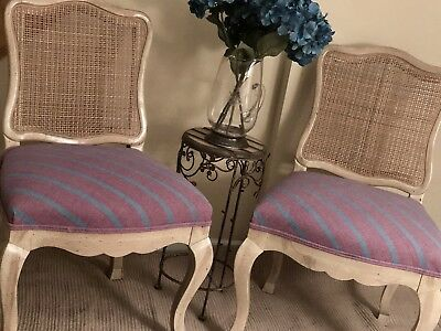3 unique vintage french Provincial W/High End Upholstery. 4thFREE*broke Cane