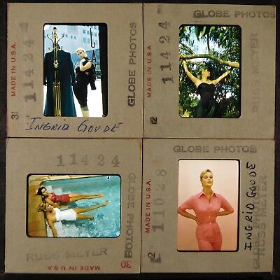 CA239-8 Original 35mm Color Slides Lot Of 4pc INGRID GOUDE By RUSS MEYER Fashion