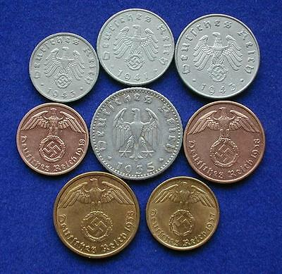 All 8 WW2 German Reichspfennig WAR Time Coins, W/ Swastikas  WWII Coins