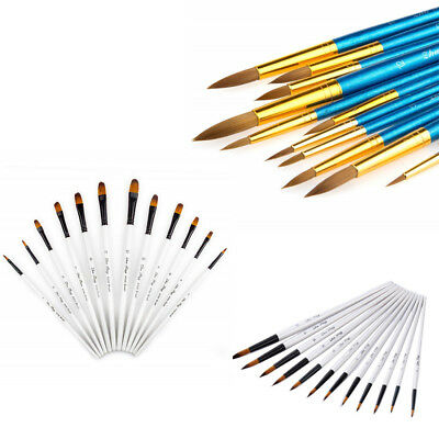 12pcs Paint Brush Set For Watercolor Rock & Face Painting Filbert Paint Brushes