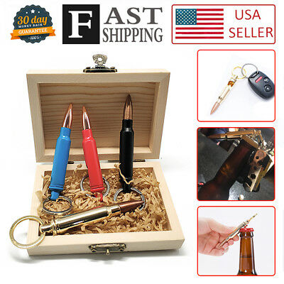 4pcs Bullet Bottle Opener and Keychain in Beautiful Wooden box 0.308 Cal