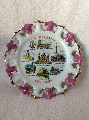Vintage New Orleans Louisiana Collector Plate 8 1/2 inch Nice Graphics Landmarks