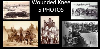 Wounded Knee Massacre 5 PHOTOS, Indian Wars Battle,Lakota Sioux,7th Cavalry 1890