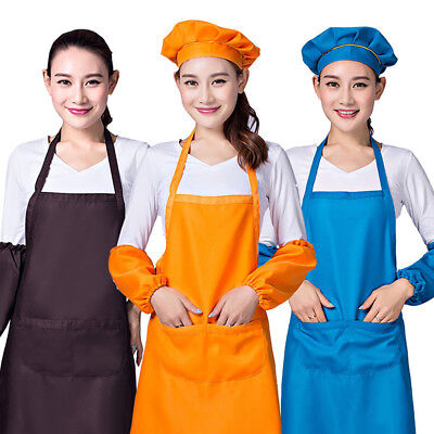 Men Women Polyester Blend Anti-wear Cooking Bib Dress Kitchen Aprons with Pocket