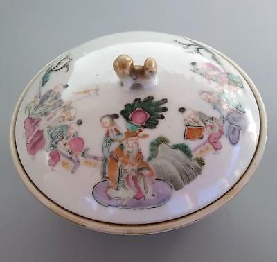 Antique Chinese Famille Rose Porcelain Covered Bowl Court Figures