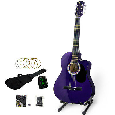 NEW 39in PURPLE KARRERA ACOUSTIC CUTAWAY GUITAR ELECTRONIC TUNER STAND BAG