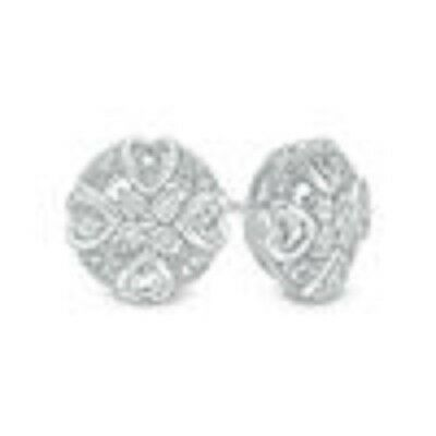 cab2669f2 ZALES DIAMOND ACCENT Mini Heart Frame Stud Earrings in Sterling Silver -  $55.00 | PicClick
