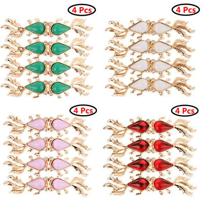 4Pairs Filigree Crystal Goldfish Cape Cloak Clasp Fasteners Cardigan Button Clip