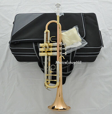 Top Rose Brass Bb Trumpet Horn Cupronickel Tuning Pipe NEW case Free shipping !!