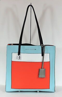 63bf3845f9 New Marc Jacobs The Grind Color Block Leather Baby Blue Multi M0013662 Bag  tote