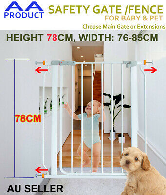 78cm Tall Adjustable Width Baby Pet Child Safety Security Gate Barrier Extension