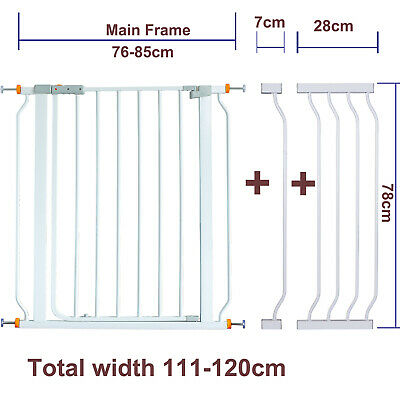 78CM High Adjustable 111-120CM Baby Pet Child Safety Security Gate Stair Barrier
