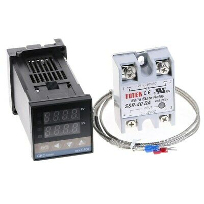 Digital PID Temperature Controller 100-240V + 40A SSR + K Thermocouple Sensor