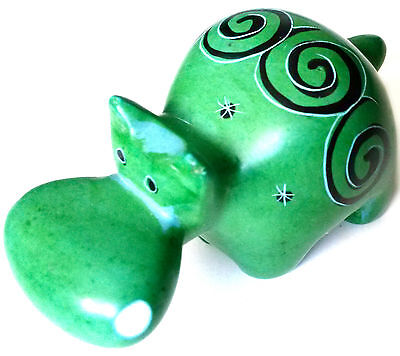 Hippo - Soapstone Hand Carved and Hand Painted - Green with Black & White Swirls