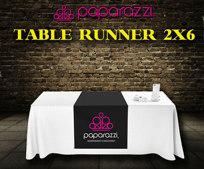 "Paparazzi Jewelry Black Table Runner Sign - 24"" x 72"" AS IS, or add your name"