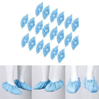 10Pair Washable Anti-static Workshop Shoe Boot Cover Overshoe Protector Blue
