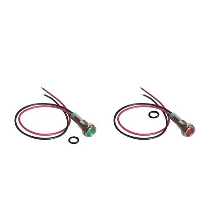 2Pcs 6mm 12V LED Metal Indicator Signal Light Lamp Wire Leads Red & Green