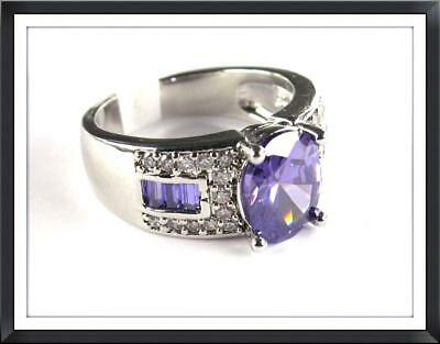 Purple Amethyst & White Topaz simulated ladies silver ring size 8 R*17054