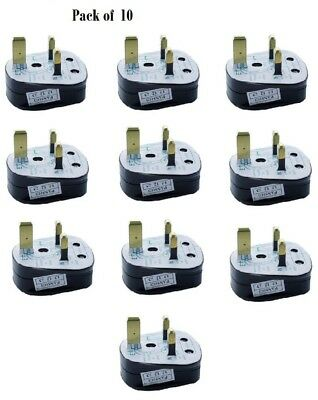 MAINS PLUG, (5A FUSE FITTED) 5Amp BLACK - 10 Pack