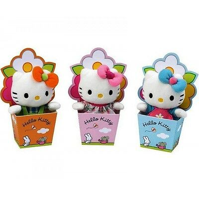 ✿ Hello Kitty Mini Plüsch in Blumentopf, Baby Collection, Glücksbringer NEU