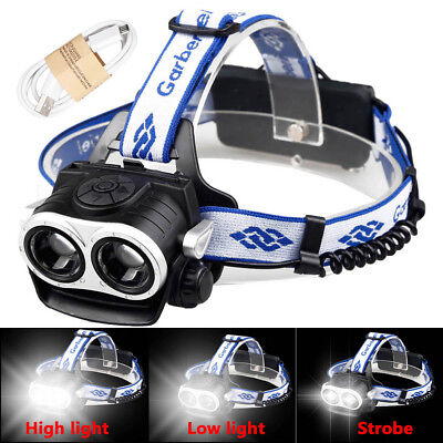 100000Lumens 2-T6 LED Rechargeable 18650 USB Headlamp Head Light Torch Lamp USA