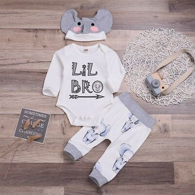 3pcs Newborn Baby Boy Little Brother Tops Romper +Pants Hat Outfits Set Clothes
