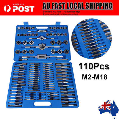 M2-M18 Screw Thread Tap and Die Set 111-piece Workshop Hand Car Tools Wrench