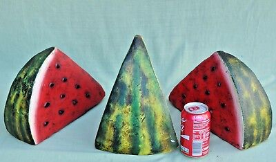 Hand Painted Terracotta Pottery Oversize Water Melon Slices South American