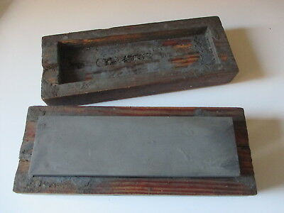 """Vintage 7"""" Whetstone In Handmade Box - Rosewood? - Made By Apprentice In 1940/1"""