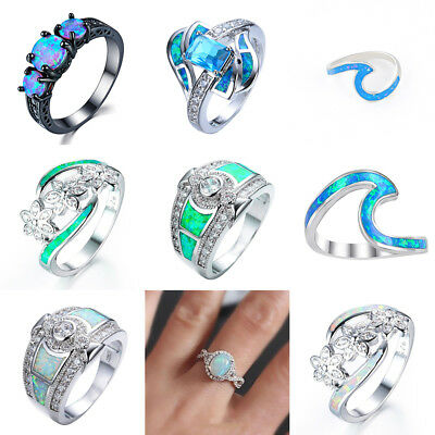 WOMEN Silver plated lover opal rings assorted natural gemstone beads stone 5-12